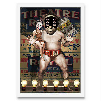 Quadro di donna con lottatore di wrestling. Collage digitale