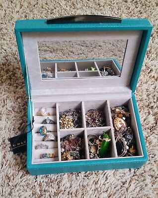 Jewelry Lot Fashion w/ Jewelry Box Rings, Necklaces, Earrings, Brooches Pendants