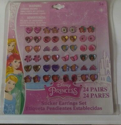24 pairs stick on earrings Disney Princess girls party bag fillers stocking gift