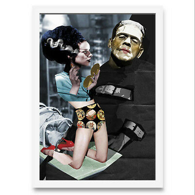 Quadro di donna estetista con Frankenstein . Collage digitale