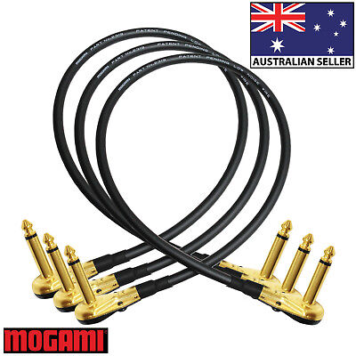 3x45cm Mogami 2319-Guitar Bass Effects Instrument Pedal Stomp Patch Cable (Gold)