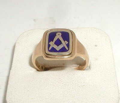 """9ct Gold & Blue Enamel Masonic Swivel Signet Ring"" Heavy 6.4g"