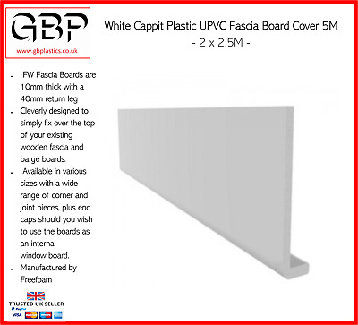 Cappit Plastic UPVC Fascia Board cover White 2.5M // all various sizes
