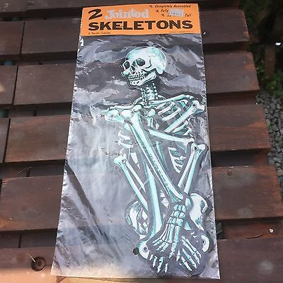 Vintage Beistle Halloween Jointed Skeletons-New in Bag