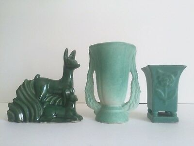 Vintage Art Deco 1930's Niloak Rare Green Multi Tone Art Pottery Collection Of 3