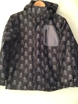 Unisex Black skull Mountainlife Waterproof Jacket Age 11-12yrs