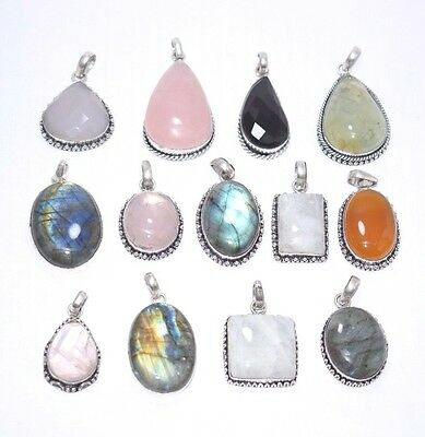 Wholesale Lot!!silver Plated Natural Labradorite Moon Stone Mix Gemstone Pendal