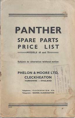 Panther Models 65 and 75 Spare Parts Price List BSA Triumph Norton