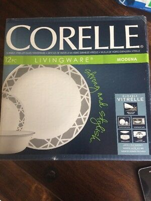 Corelle Modena 11 Piece Dinner Set Grey Dinnerware Side Plates Bowls Vitrelle