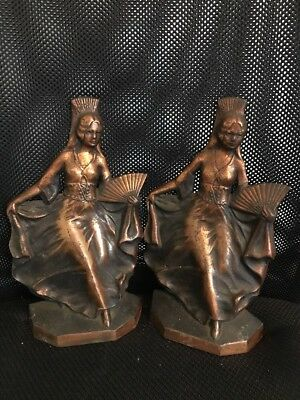 Antique Art Nouveau or Art Deco Lady Dancer Bookends Cast Iron