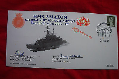 FDC SIGNED STAMPS SIGNED CAPT & MAYOR HMS AMAZON OFFICAL VISIT to SOUTHAMPTON