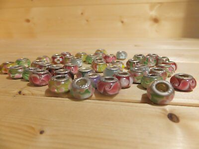 44 Glass Beads With 925 Silver Collars