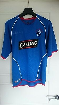 Glasgow Rangers 2005-06 Home football top shirt strip kit Umbro Carling Medium