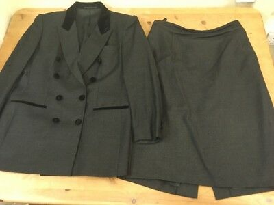 Vintage M&S Grey Wool Suit Skirt Jacket Double Breasted Riding Uk 14 16 18