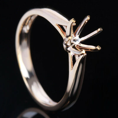 Solid 10K Yellow Gold Round 5.5-6.5mm Semi Mount Engagement Wedding Gentle Ring