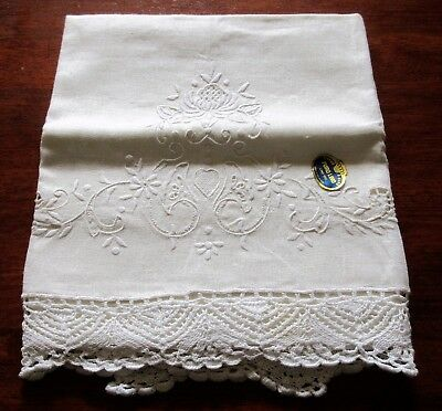 Large Vintage Guest Towel 100% Linen ~Hand Embroidered ~ 2'' Crochet Trim Italy
