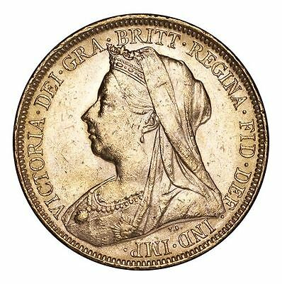 Great Britain Victoria Gold Coin 1900-M Gold Sovereign Veiled Head