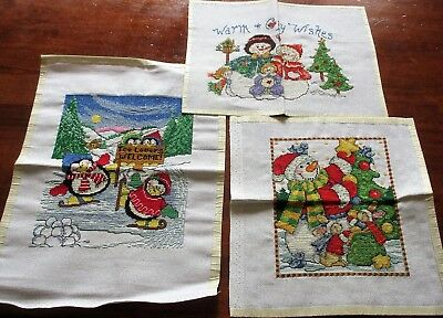 3 Adorable Completed Christmas Holiday Theme Needlepoints Embroidery