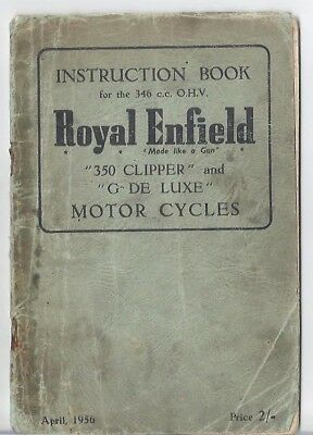 Royal Enfield 350 Clipper and G De Luxe Instruction Book BSA Norton Triumph