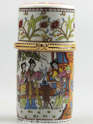 81MM Chinese Colour Porcelain Three Beautiful Woman Shang Xiang Toothpick Box