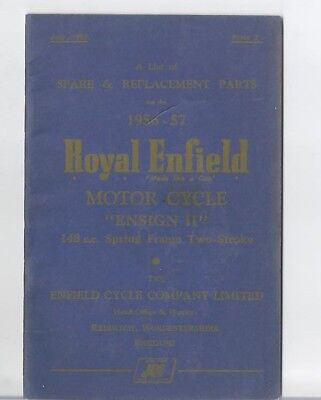 Royal Enfield Ensign 2 1956 to 1957 Spare Parts Manual BSA Norton Triumph