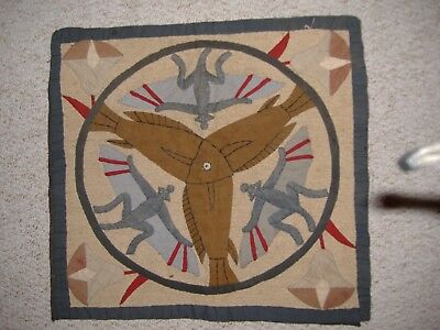 RARE ANTIQUE EGYPTIAN 1930s TEXTILE COLLAGE APPLIQUE CUSHION FRONT HANGING ART