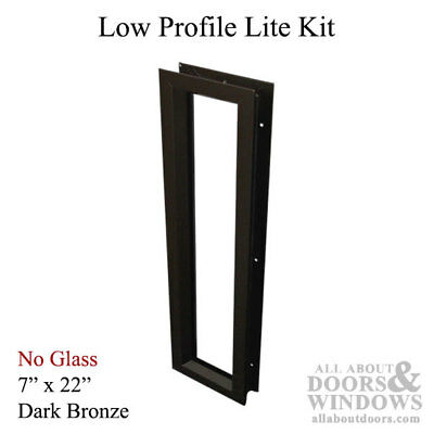 "Commercial Low-Profile Metal Door Lite Frame, 7"" x 22"" - Dark Bronze"