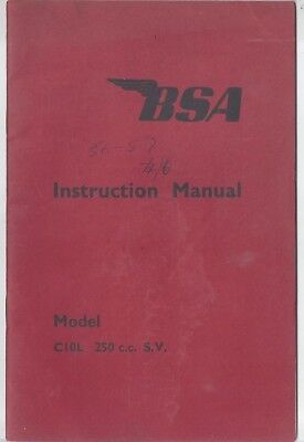 BSA C10L 250cc SV Instruction Manual 1955 BSA Norton Triumph