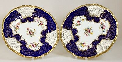 Antique Coalport China Cobalt & Gilt Gadroon Cabinet Plates X 2 C.1900