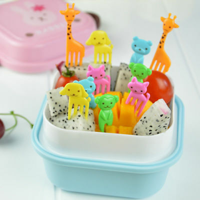 10Pcs/set Bento Lovely Animal Food Fruit Picks Forks Lunch Box Accessory Tool YH