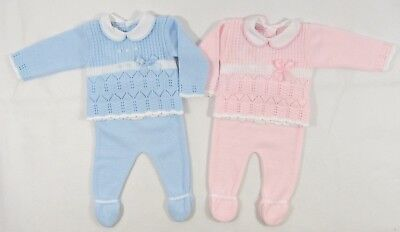Baby Babies Boys Girls Spanish Style Bow Knitted Top Pants 2 Piece Set Outfit