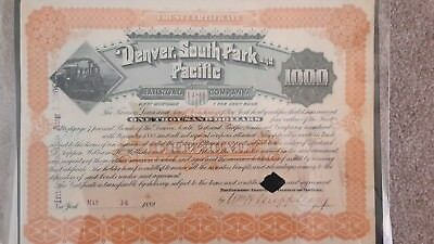 Denver, South Park and Pacific RR First Mortgage Bond