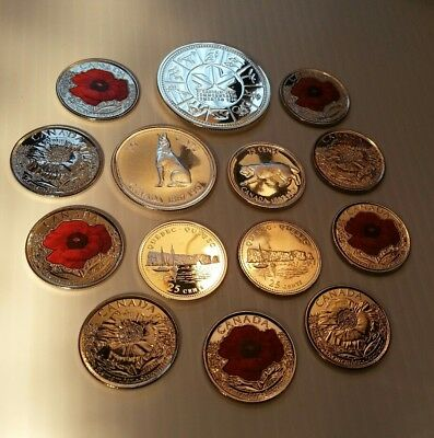 CANADA LOTS OF SILVER AND COMMEMORATIVE QUARTERS 14 Coins Lots