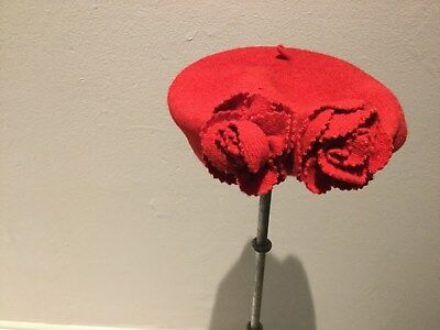 'accessorize' Red Beret Flower Detail