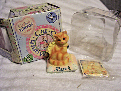 Calico Kittens Enesco Cat Of The Month March Aquamarine & Jonquil New In Box