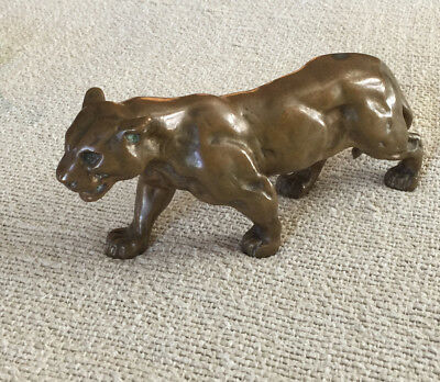 Antique Solid BRONZE Crouching TIGER • Expressive, fluid. Probably Japanese