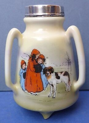Lovely Antique Royal Bayreuth Posy Vase with Silver Collar 1916 St Bernard Dog
