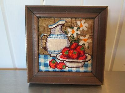 Completed Needlepoint Wall Frame Strawberries Table Floral Pitcher Blue White