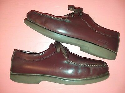 Vintage LL Bean Freeport Maine USA burgundy leather oxford moc boat shoes MENs 8