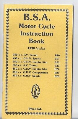 BSA Instruction Book B20 B21 B22 B23 B24 B25 B26 BSA Norton Triumph
