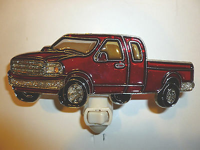 "Stain Glass Style - ""RED PICK-TRUCK""    NIGHT LIGHT"