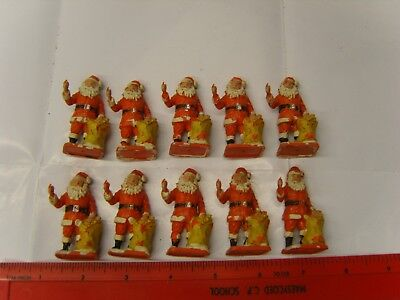 Crescent Toys Vintage Plastic Santa Father Christmas Figures.lot Of 10