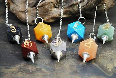 Lot Of 7 Chakra Healing Pendulums With Engraved Reiki Symbols 627