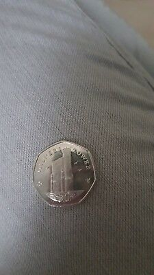 2016 Isle of Man Milners Tower 50p Coin.Fifty Pence, Iom.lightly circulated.