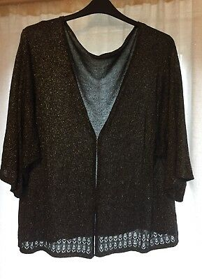 Size 24 /26 BLACK SPARKLY SILVER METALLIC PRETTY PARTY / EVENING CARDIGAN