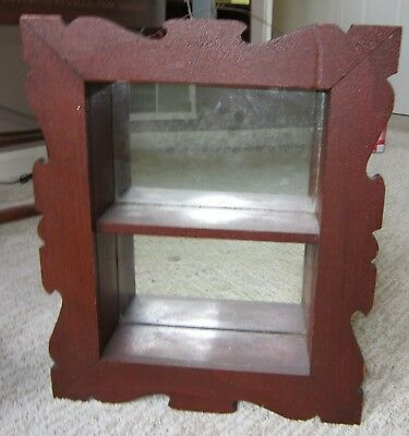 Small Victorian Hand Carved Mirrored Curio Wall Shelf