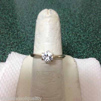 Solid 14k WG .45 Point Round Cut Diamond Solitaire Engagement Ring