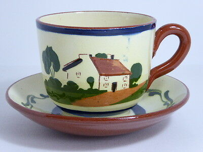 Watcombe Pottery Devon Motto Ware Breakfast Cup & Saucer Have Another Cup Full