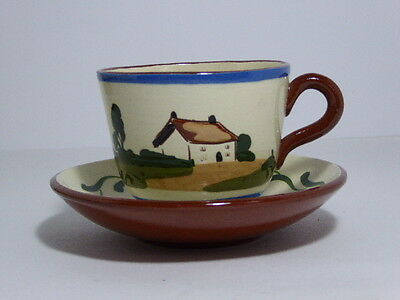 Watcombe Pottery Motto Ware Tea Cup Saucer Drink little that you may drink long