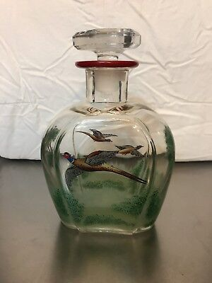 glass whiskey decanter with Hand Painted Pheasants